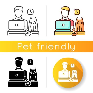 Pet friendly office icon. Domestic animal permitted territory. Cat at workplace, kitten and human working on computer. Linear black and RGB color styles. Isolated vector illustrations icon