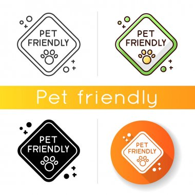 Pet friendly zone traffic sign icon. Domestic animals walking place, cats and dogs welcome territory. Pets permitted area. Linear black and RGB color styles. Isolated vector illustrations icon