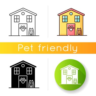 Animal shelter exterior sign icon. Stray cats and dogs house, homeless animals care place. Kitty and doggy welcome area. Linear black and RGB color styles. Isolated vector illustrations icon