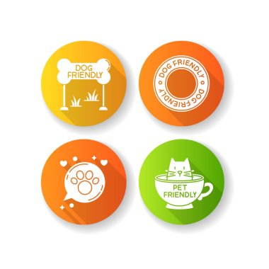 Cat and dog friendly areas emblems flat design long shadow glyph icons set. Four-legged friends allowed territories signs. Kitty and doggy welcome. Silhouette RGB color illustration icon