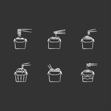 Take away noodles chalk white icons set on black background. Chinese food to go. Wok cafe packages. Cardboard boxes with takeout asian meal and chopsticks. Isolated vector chalkboard illustrations icon