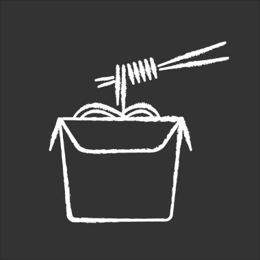 Chinese noodles chalk white icon on black background. Wok cafe food cardboard box with chopsticks. Japanese spaghetti takeout. Take away meal paper package. Isolated vector chalkboard illustration icon
