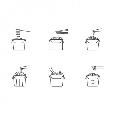 Take away noodles pixel perfect linear icons set. Customizable thin line symbols. Chinese food to go. Wok cafe packages. Cardboard boxes with meal. Vector isolated outline drawings. Editable strokes icon