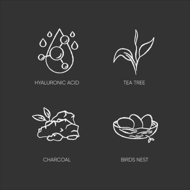 Cosmetic ingredient chalk white icons set on black background. Hyaluronic acid. Birds nest. Skincare treatment. Organic component for exfoliation. Isolated vector chalkboard illustrations icon