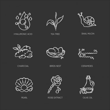 Cosmetic ingredient chalk white icons set on black background. Chemical formula for cosmetology. Natural skincare products. Organic components. Isolated vector chalkboard illustrations icon