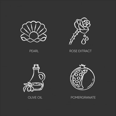Cosmetic ingredient chalk white icons set on black background. Pearl in oyster shell. Rose extract. Olive oil. Sliced pomegranate. Therapeutic treatment. Isolated vector chalkboard illustrations icon