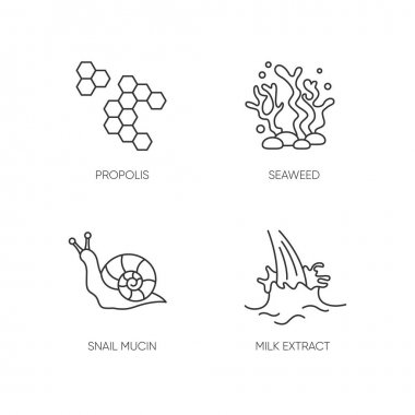 Cosmetic ingredient pixel perfect linear icons set. Honey comb. Seaweed underwater. Snail mucin. Customizable thin line contour symbols. Isolated vector outline illustrations. Editable stroke icon