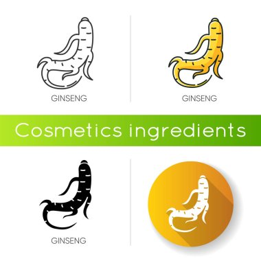 Ginseng icon. Herbal root. Healing component for acne. Chinese traditional treatment. Organic antioxidant. Cosmetic ingredient. Linear black and RGB color styles. Isolated vector illustrations icon