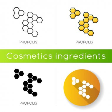 Propolis icon. Honey combs. Hive cell. Acne treatment component. Beekeeping, beeswax. Agriculture. Korean beauty cosmetic ingredient. Linear black and RGB color styles. Isolated vector illustrations icon