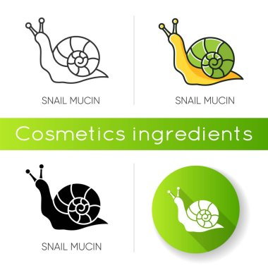 Snail mucin icon. Skincare natural component. Organic delicate product. Healing effect. Repairing effect for skin. Korean beauty. Linear black and RGB color styles. Isolated vector illustrations icon