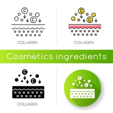 Collagen icon. Chemical components. Dermatology and cosmetology. Skincare treatment. Fibre structure. Cosmetic ingredient. Linear black and RGB color styles. Isolated vector illustrations icon