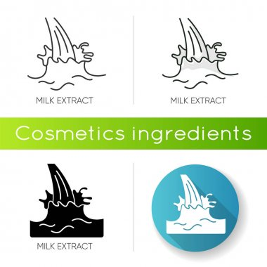 Milk extract icon. Protein source. Natural skincare. Organic treatment component. Beauty lotion. Antiaging cream. Korean beauty. Linear black and RGB color styles. Isolated vector illustrations icon