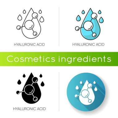 Hyaluronic acid icon. Hydrating chemical formula. Collagen to prevent wrinkles. Anti-aging effect. Korean cosmetic ingredient. Linear black and RGB color styles. Isolated vector illustrations icon