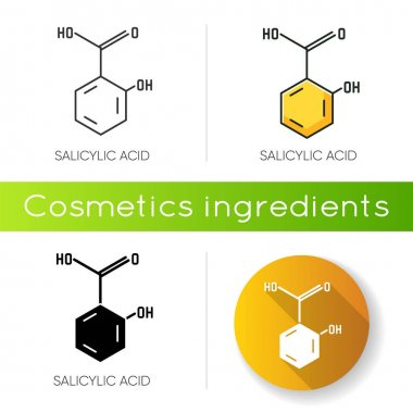 Salicylic acid icon. Chemical sequence. Molecular formula. Skincare component. Scientific research. Healthcare, cosmetology. Linear black and RGB color styles. Isolated vector illustrations icon