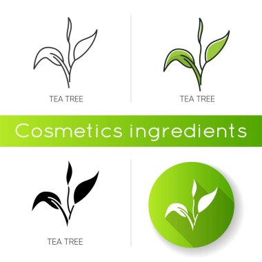 Tea tree icon. Skincare product component. Organic beauty. Herbal moisture. Essential oil. Natural cosmetic ingredient. Linear black and RGB color styles. Isolated vector illustrations icon