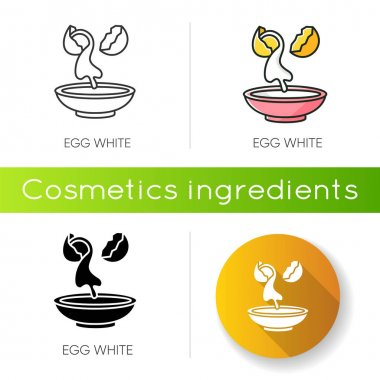 Egg white icon. Cracked shell with albumen. Protein source. Natural moisturizer. Dermatology treatment with organic components. Linear black and RGB color styles. Isolated vector illustrations icon