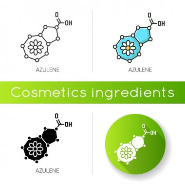 Azulene icon. Scientific compound. Chemical skincare formula. Blue pigment. Molecular structure. Atomic chain. Cosmetic ingredient. Linear black and RGB color styles. Isolated vector illustrations icon