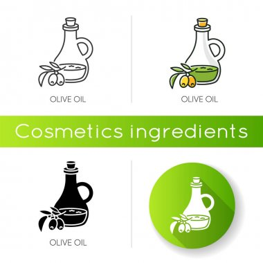 Olive oil icon. Vegan component. Exfoliating and moisturizing effect for skincare. Traditional food seasoning. Extra virgin oil. Linear black and RGB color styles. Isolated vector illustrations icon