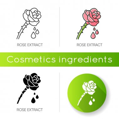 Rose extract icon. Flower petals. Fragrant component. Herbal toner. Floral serum. Aromatherapy with essential oils. Linear black and RGB color styles. Isolated vector illustrations icon