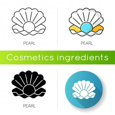 Pearl icon. Open seashell. Brightening effect. Component to prevent aging. Expensive oyster. Ocean scallop. Luxury product. Linear black and RGB color styles. Isolated vector illustrations icon