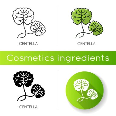 Centella icon. Healing plant. Herbal component. Natural skincare. Organic treatment. Leaves for nourishment. Korean beauty cosmetic ingredient. Linear black and RGB color styles icon
