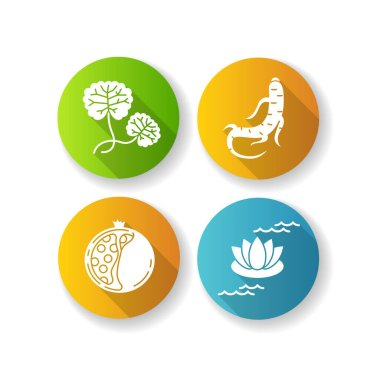 Cosmetic ingredient flat design long shadow glyph icons set. Centella plant. Ginseng root. Collagen formula. Lotus flower. Skincare treatment. Nourishing effect. Silhouette RGB color illustration icon
