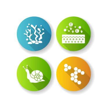 Cosmetic ingredient flat design long shadow glyph icons set. Propolis, honey comb. Seaweed underwater. Snail mucin. Cosmetology, dermatology. Natural component. Silhouette RGB color illustration icon