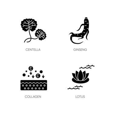 Cosmetic ingredient black glyph icons set on white space. Centella plant. Ginseng root. Collagen formula. Lotus flower. Korean beauty. Silhouette symbols. Vector isolated illustration icon
