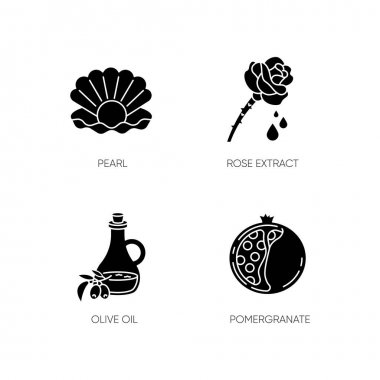 Cosmetic ingredient black glyph icons set on white space. Pearl in oyster shell. Rose extract. Olive oil. Sliced pomegranate. Beauty, skincare. Silhouette symbols. Vector isolated illustration icon