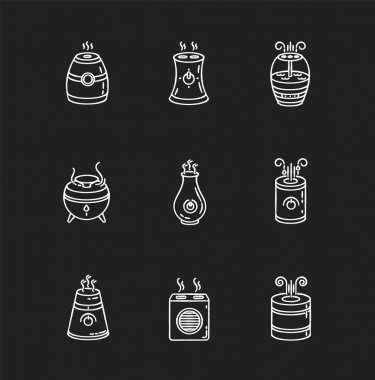 Air purifiers variety chalk white icons set on black background. Ultrasonic and steam air cleaners, climate control devices, indoors humidity regulators. Isolated vector chalkboard illustrations icon
