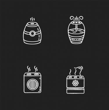 Air purifiers variety chalk white icons set on black background. Modern air humidifiers, climate control devices, different design humidity regulators. Isolated vector chalkboard illustrations icon