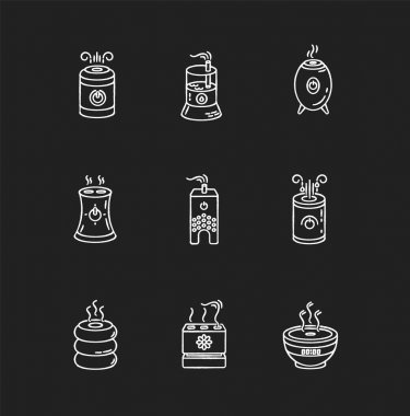 Air ionizers variety chalk white icons set on black background. Ultrasonic and steam air humidifiers, climate control devices, room humidity regulators. Isolated vector chalkboard illustrations icon