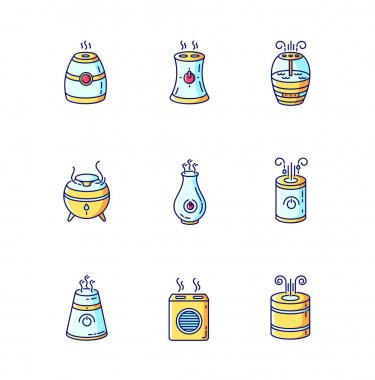 Air purifiers variety blue, yellow and red RGB color icons set. Ultrasonic and steam air cleaners, climate control devices, indoors humidity regulators. Isolated vector illustrations icon