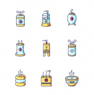 Air ionizers variety blue, yellow and red RGB color icons set. Ultrasonic and steam air humidifiers, climate control devices, room humidity regulators. Isolated vector illustrations icon