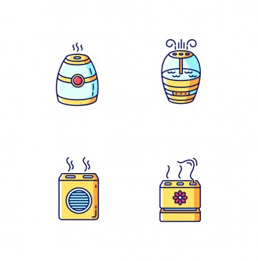 Air purifiers variety blue, yellow and red RGB color icons set. Modern air humidifiers, climate control devices, different design humidity regulators. Isolated vector illustrations icon