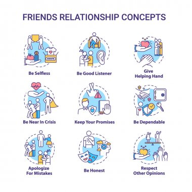 Best friends relationship concept icons set. Friendship advices. Being dependable, honest and selfless idea thin line RGB color illustrations. Vector isolated outline drawings. Editable stroke icon