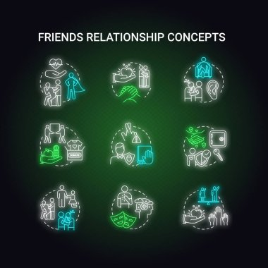 Best friends relationship neon light concept icons set. Friendship advices. Personal values and social skill. Being dependable, honest and selfless idea. Glowing vector isolated RGB color illustration icon