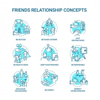 Best friends relationship concept icons set. Friendship advices. Dependable, honest and selfless idea thin line RGB color illustrations. Vector isolated outline drawings. Editable stroke icon