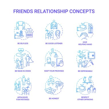 Best friends relationship concept icons set. Good friendship advices. Being dependable, honest and selfless idea thin line RGB color illustrations. Vector isolated outline drawings icon