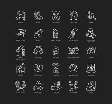 Friendly relationship chalk white icons set on black background. Friendship, interpersonal communication, emotional bond. Best friends, buddies isolated vector chalkboard illustrations icon