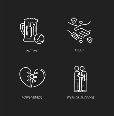 Best friends chalk white icons set on black background. Strong interpersonal bond, friendship. Pastime, trust, forgiveness and friends support. Isolated vector chalkboard illustrations icon