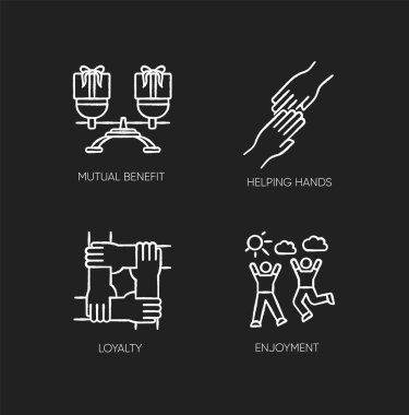 Friends togetherness chalk white icons set on black background. Friendship, unity and communication. Mutual benefit, helping hands, loyalty and enjoyment. Isolated vector chalkboard illustrations icon