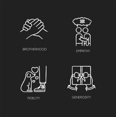 Friendly bonds chalk white icons set on black background. Strong emotional attachment, friendship. Brotherhood, empathy, fidelity and generosity. Isolated vector chalkboard illustrations icon