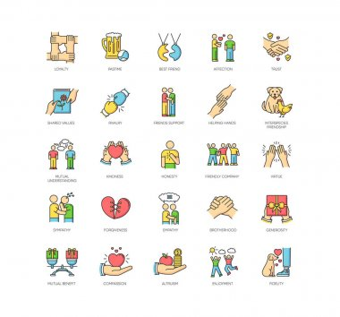 Friendly relationship RGB color icons set. Strong friendship and togetherness. Interpersonal communication, emotional bond symbols. Best friends, buddies isolated vector illustrations icon
