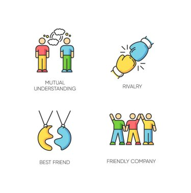 Friendship types RGB color icons set. Mutual understanding, rivalry, best friend and friendly company. Social connection, interpersonal relationship symbols. Isolated vector illustrations icon
