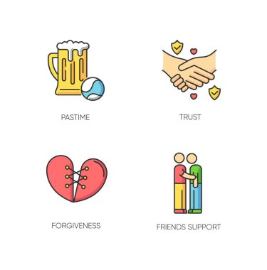Best friends RGB color icons set. Strong interpersonal bond, emotional affection, friendship symbols. Pastime, trust, forgiveness and friends support. Isolated vector illustrations icon