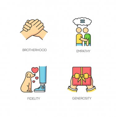Friendly bonds RGB color icons set. Strong emotional attachment, friendship symbols. Interpersonal emotional connection. Brotherhood, empathy, fidelity and generosity. Isolated vector illustrations icon