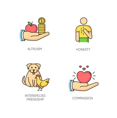 Friendly support RGB color icons set. Interpersonal relationship, unity and togetherness symbols. Altruism, honesty, interspecies friendship and compassion. Isolated vector illustrations icon