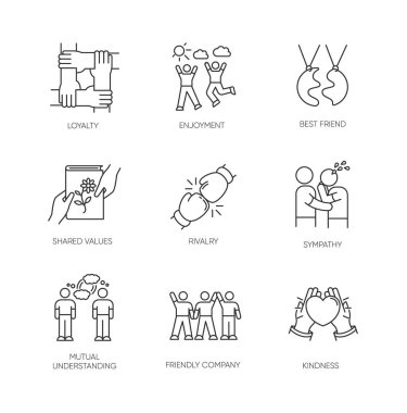 Friendship pixel perfect linear icons set. Emotional affection, interpersonal bond, social relationship customizable thin line contour symbols. Isolated vector outline illustrations. Editable stroke icon