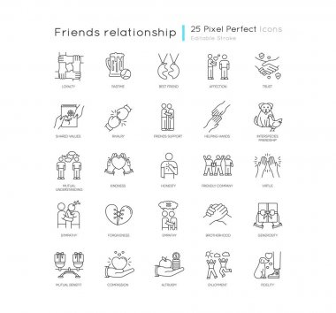 Friendly relationship pixel perfect linear icons set. Friendship, interpersonal emotional bond customizable thin line contour symbols. Isolated vector outline illustrations. Editable stroke icon
